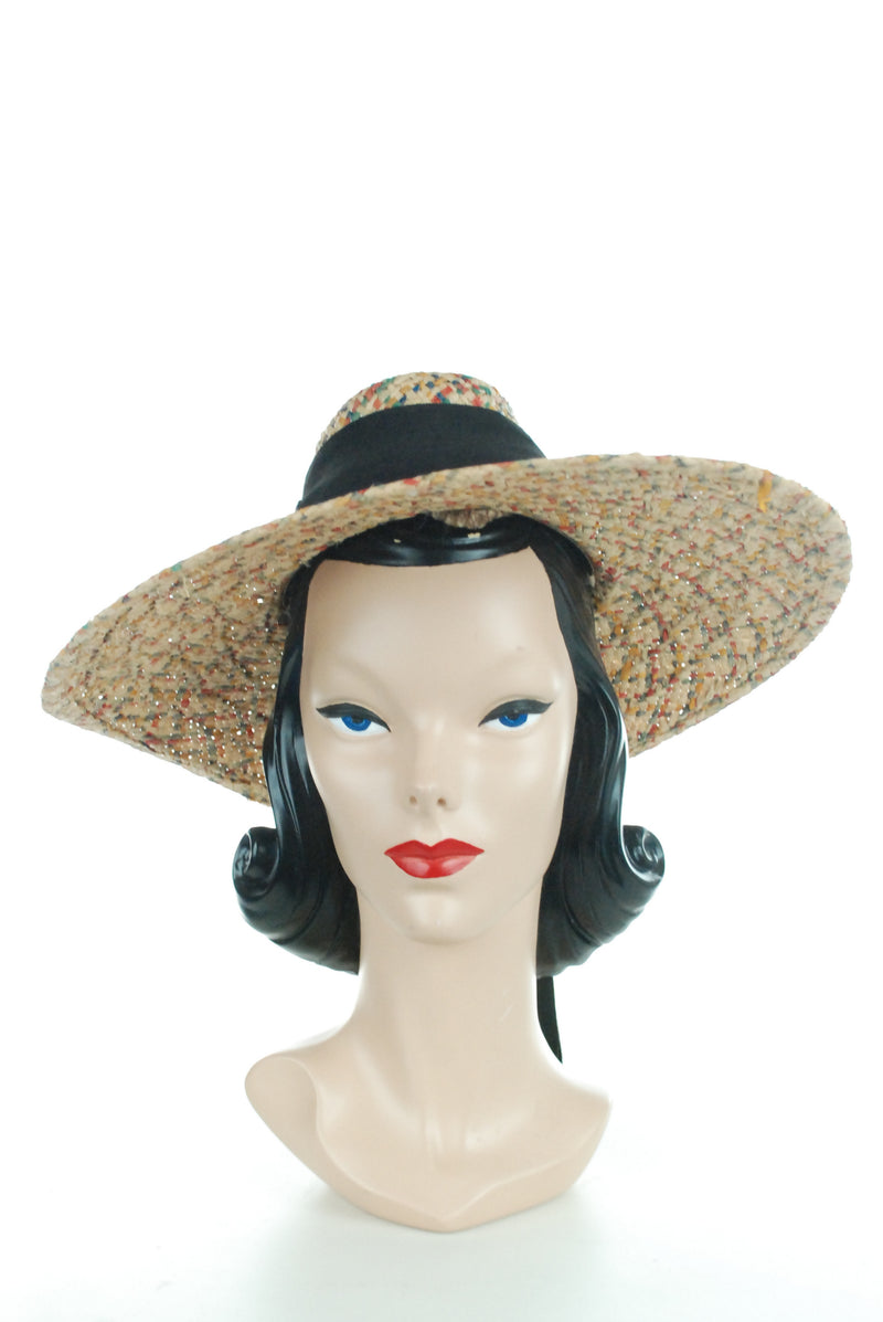 Gorgeous Re-Colored Late 1930s, Early 40s Straw Sunhat in Primary Colors