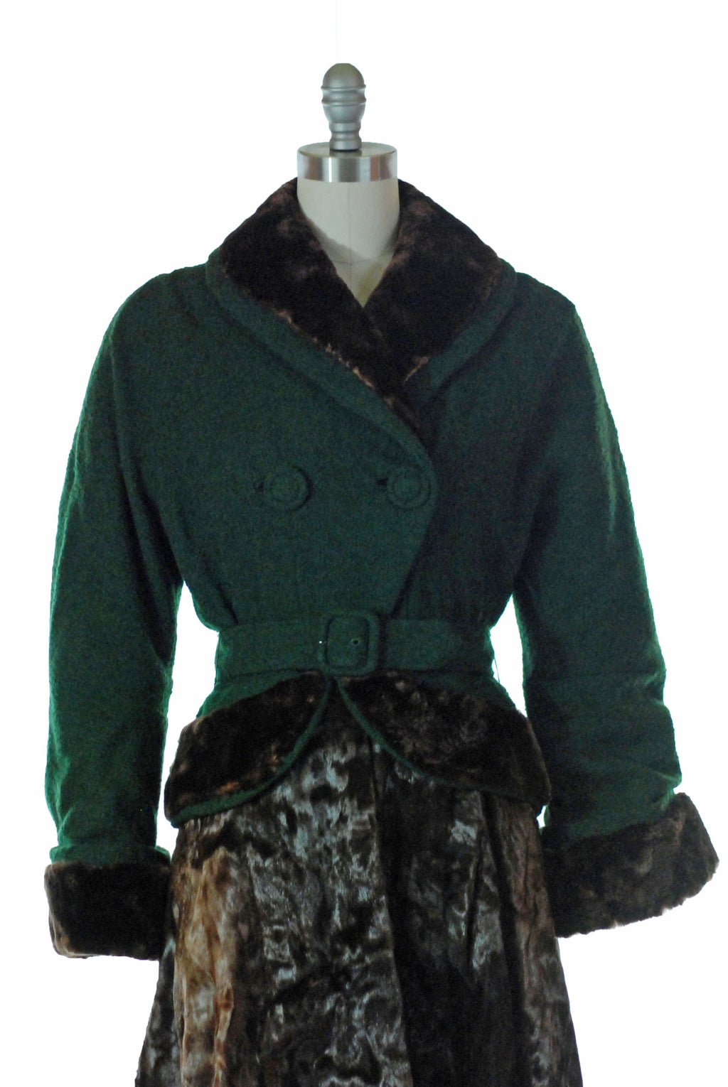 Amazing 1950s New Look Wool Boucle Coat with Pony Fur Skirt and Sheared Mink Trim