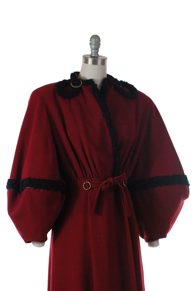 Rare and Stunning 1940s Coat in Cranberry Camel Hair with Lantern Sleeves and Astrakhan Lamb trim