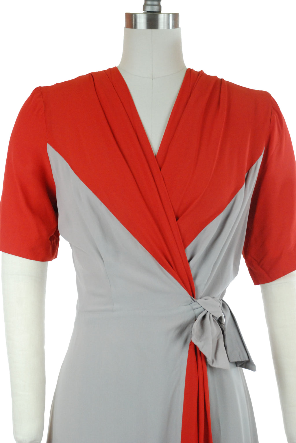 Killer 1940s Bold Two Tone Dress Gown in Grey and True Red