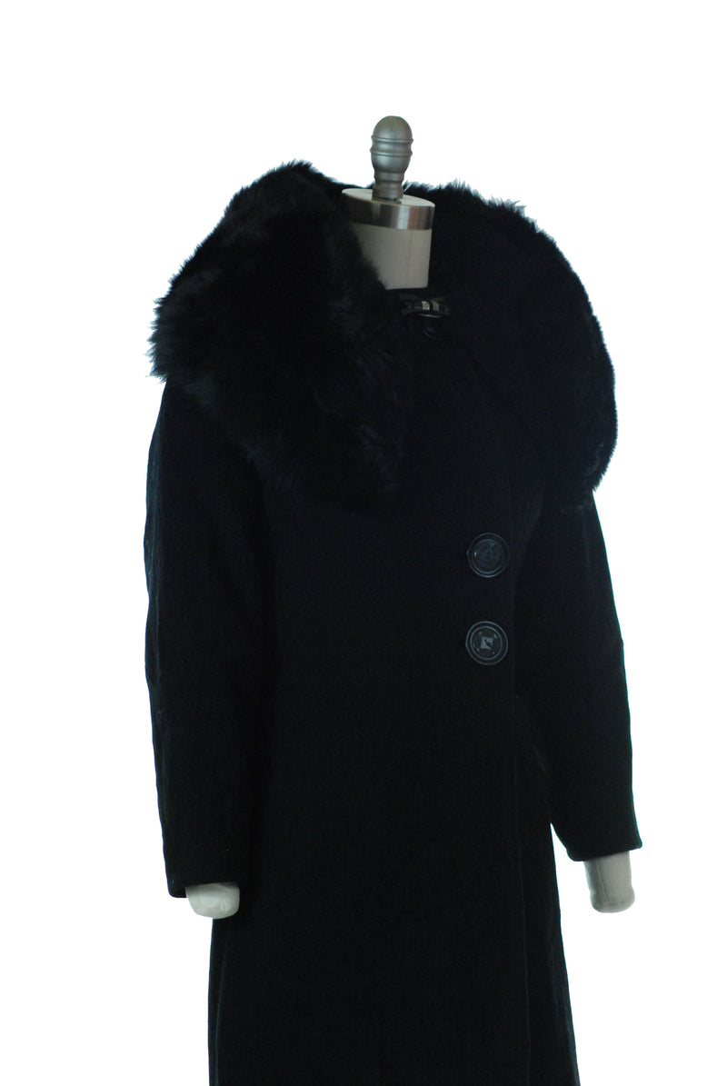 Dramatic 1930s Wool Coat with Huge Skunk Trimmed Collar