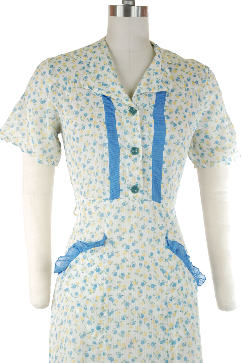 Charming Late 1930s Cotton Day Dress with Blue and Yellow Apples with Blue Trim