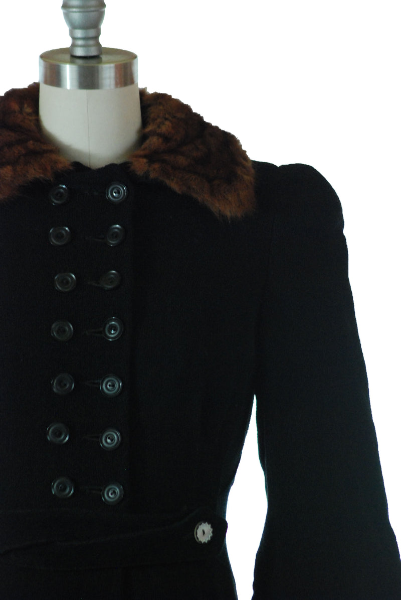 RESERVED on Layaway Fantastic Late 1930s Tailored Princess Coat with Double Breasted Closure and Attached Belt