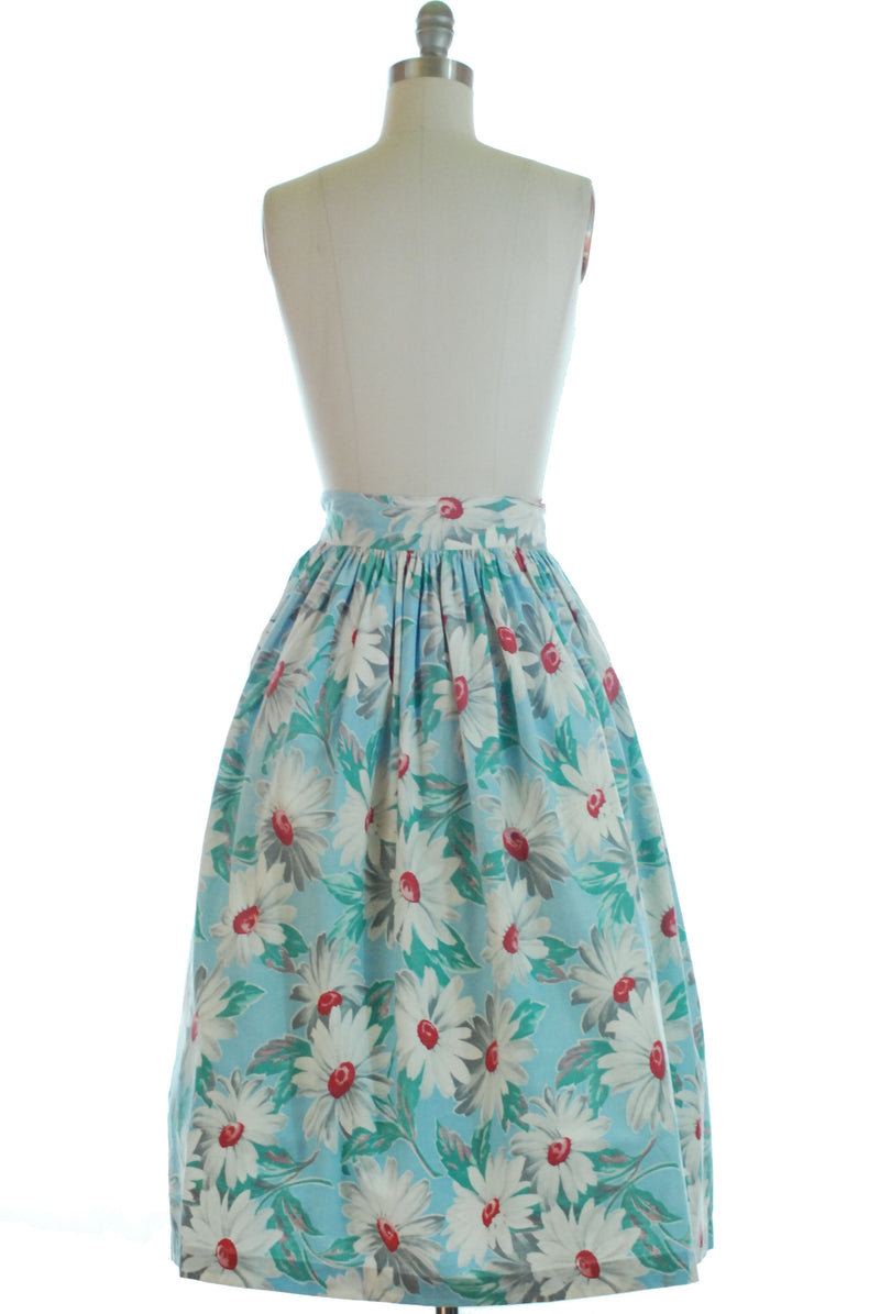 Cute 1940s Floral Cotton Cotton Skirt with Daisies