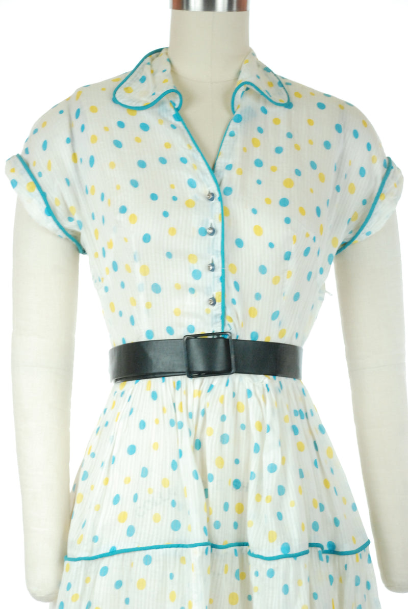 Adorable 1950s Polka Dot Cotton Summer Dress in Striped Semi-Sheer Cotton with Piping Trim