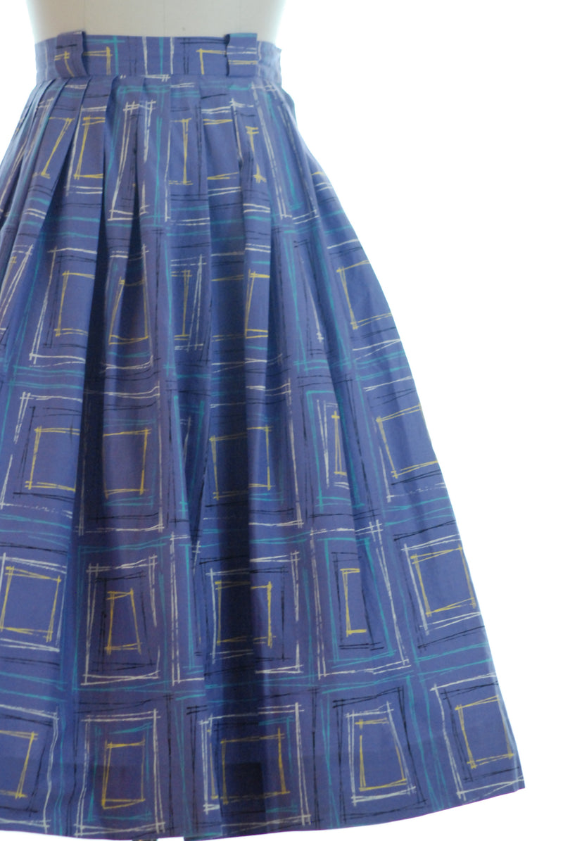 "Cheerful 1950s Purple Pleated Cotton Skirt with Brushy ""Drawn"" Plaid"