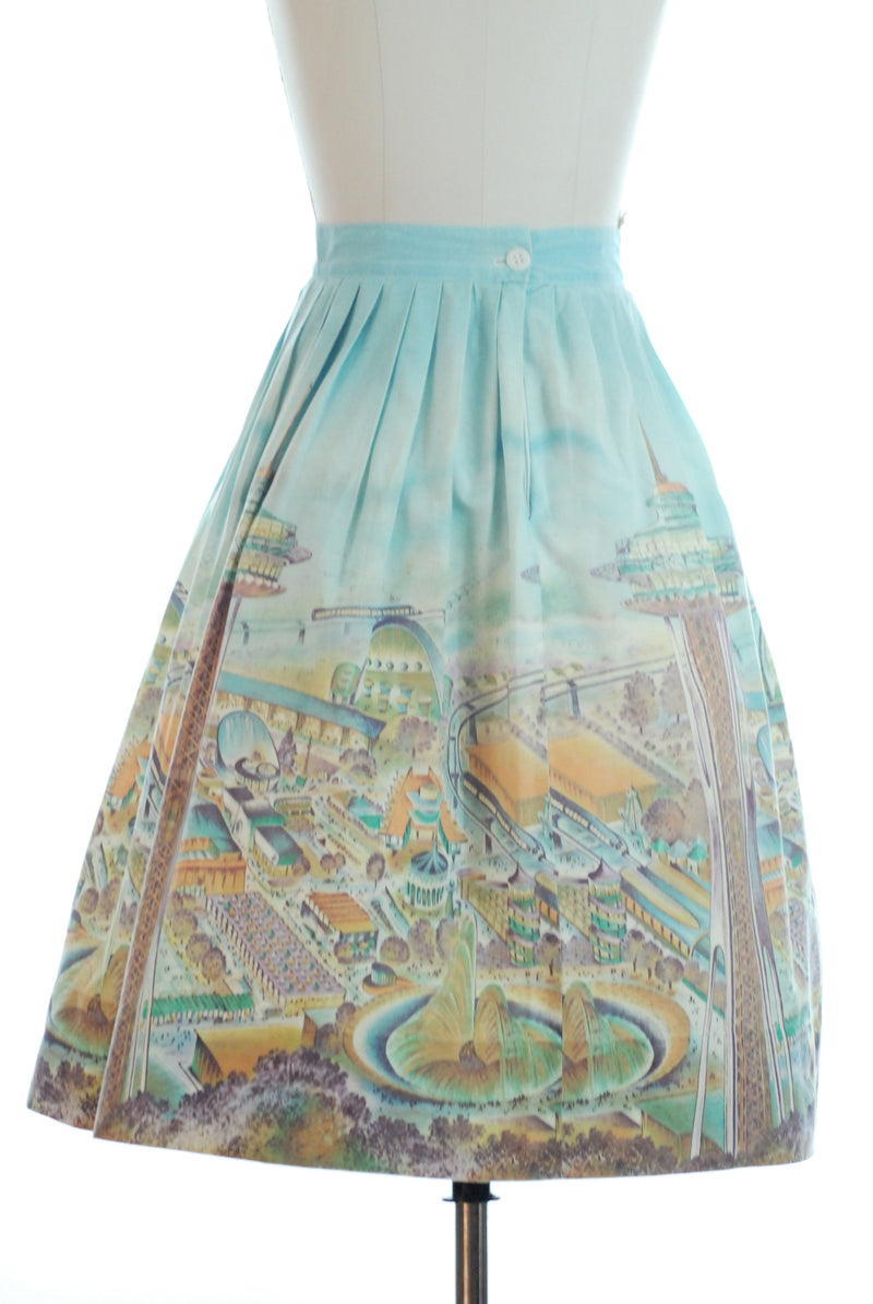 RARE 1962 Seattle World's Fair Novelty Border Print Skirt Space Needle Monorail