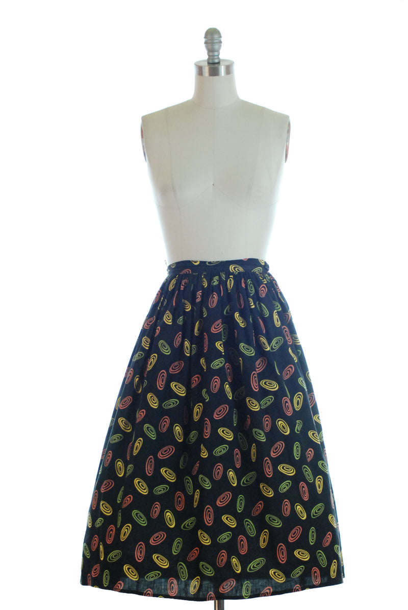 Fun 1950s Cotton Skirt with Atomic Disks in Yellow, Green, Coral on Black