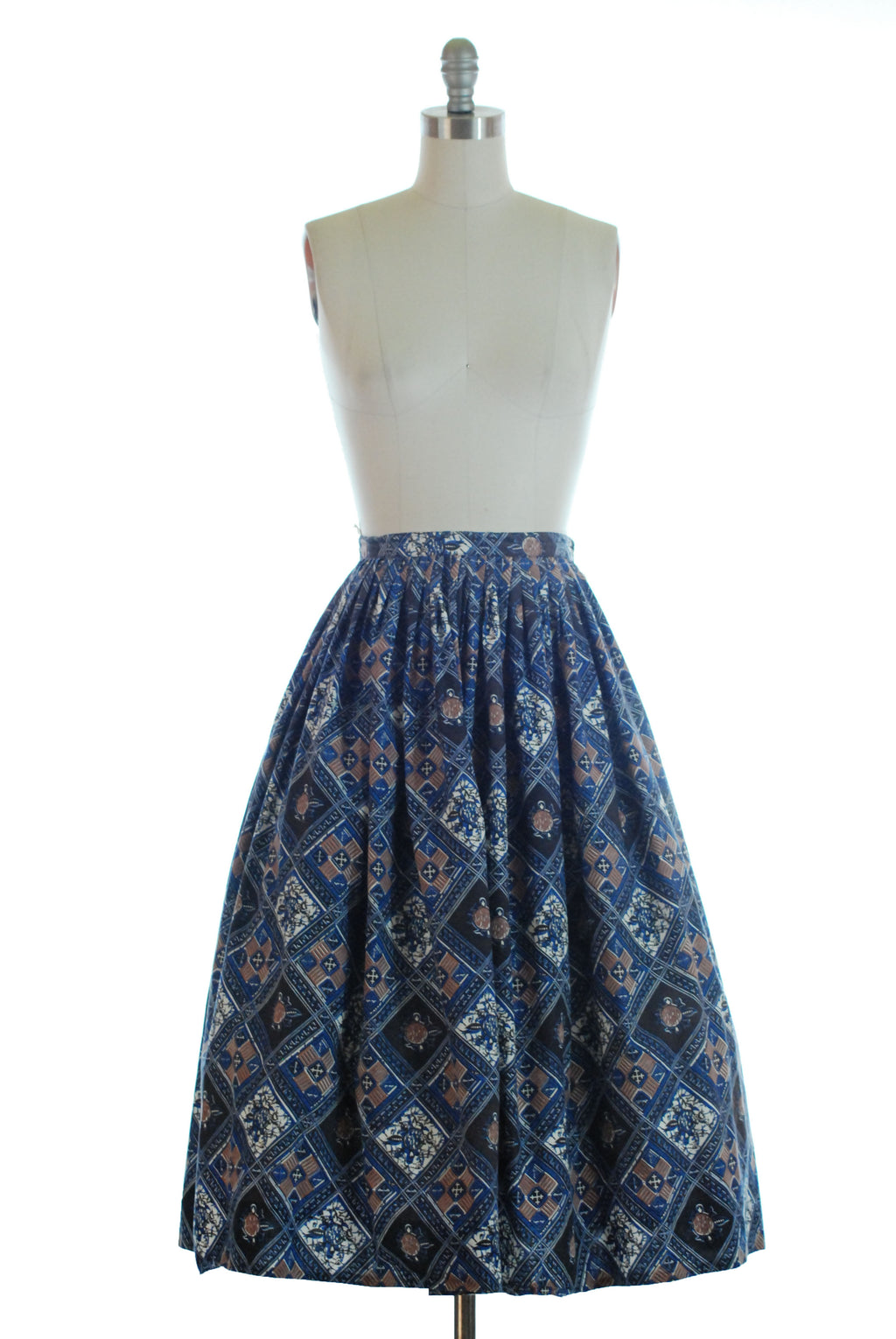 Crisp 1950s Cotton Skirt with Batik Style Fish Print KortLee Original