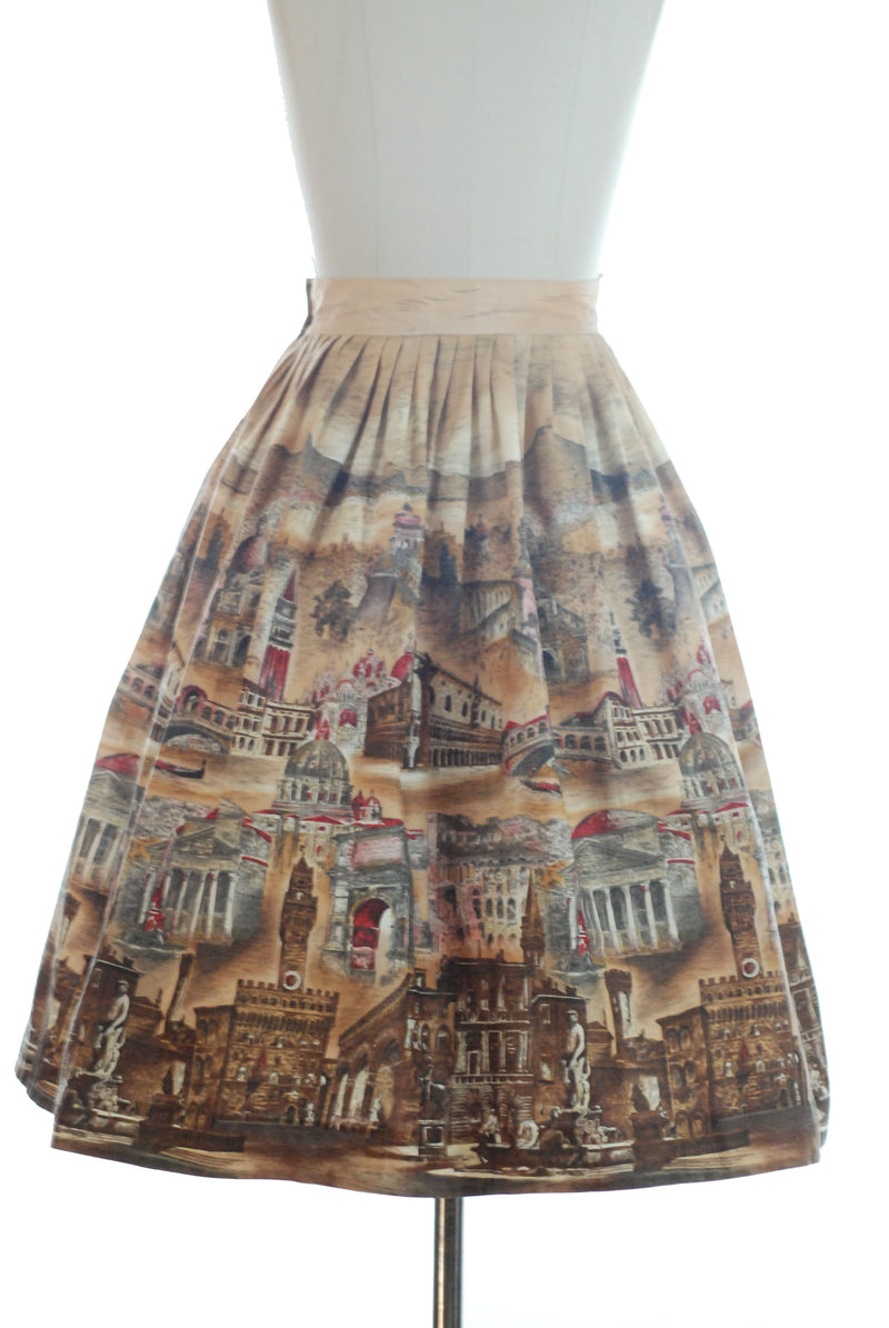 Rare 1950s Incredibly Detailed Scenic Italian Border Print Novelty Skirt.