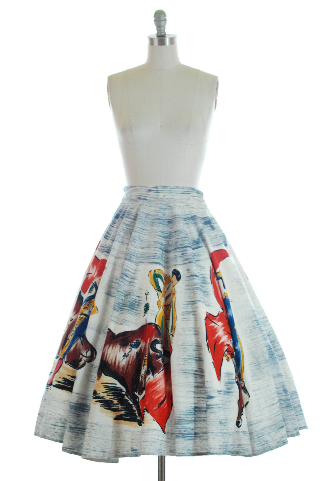 Classic 1950s Handpainted Tourist Skirt Featuring Bullfighting Scenes.