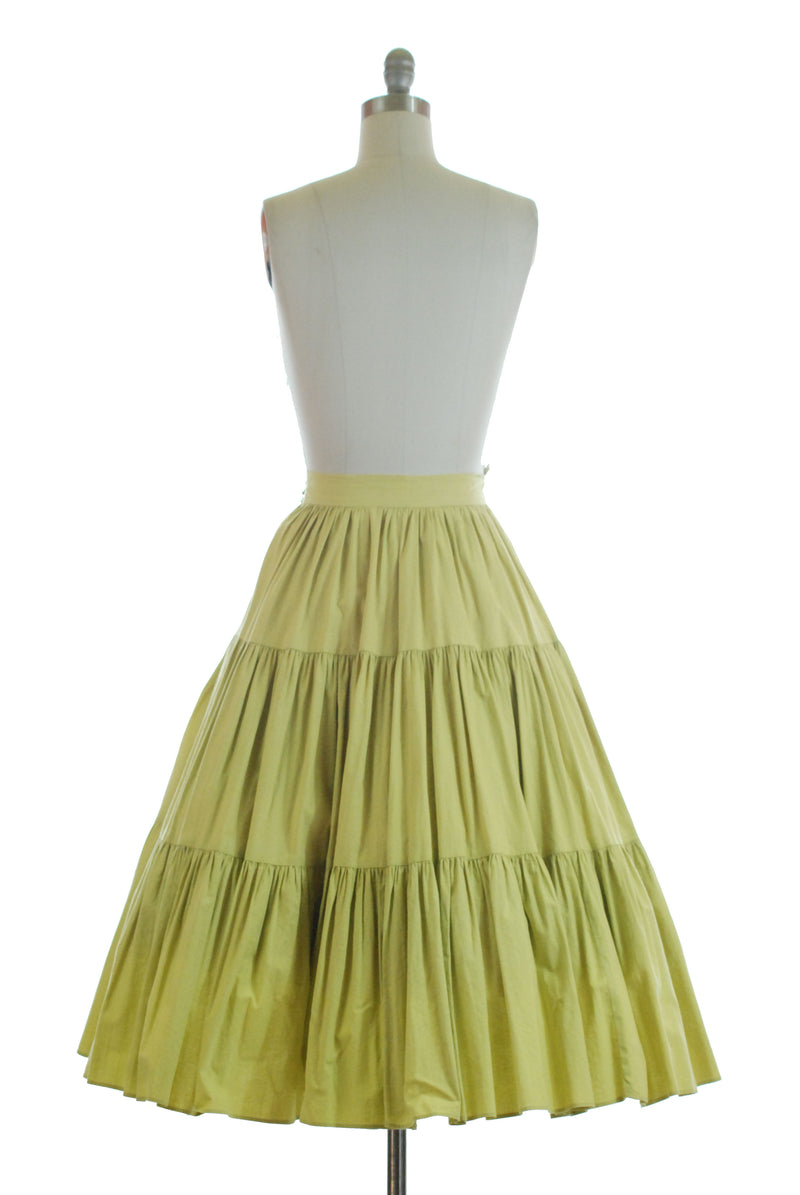 Bright 1950s Tiered Cotton Skirt in Bold Chartreuse