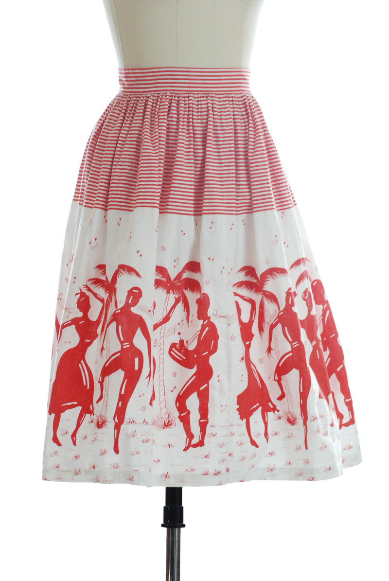 Novelty Print 1950s Skirt in Bright Red and White with Dancers