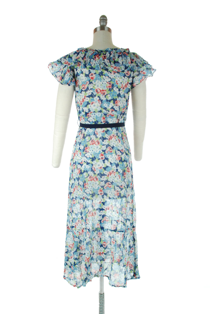 Gorgeous 1930s Floral Summer Gown of Lightweight Cotton in Blue with Roses