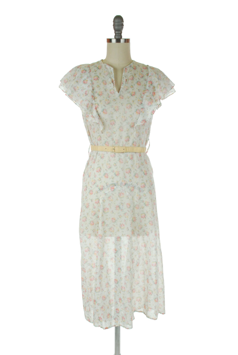 Charming 1920s White Lingerie Dress  with Sailor Style Collar and Matching Sash