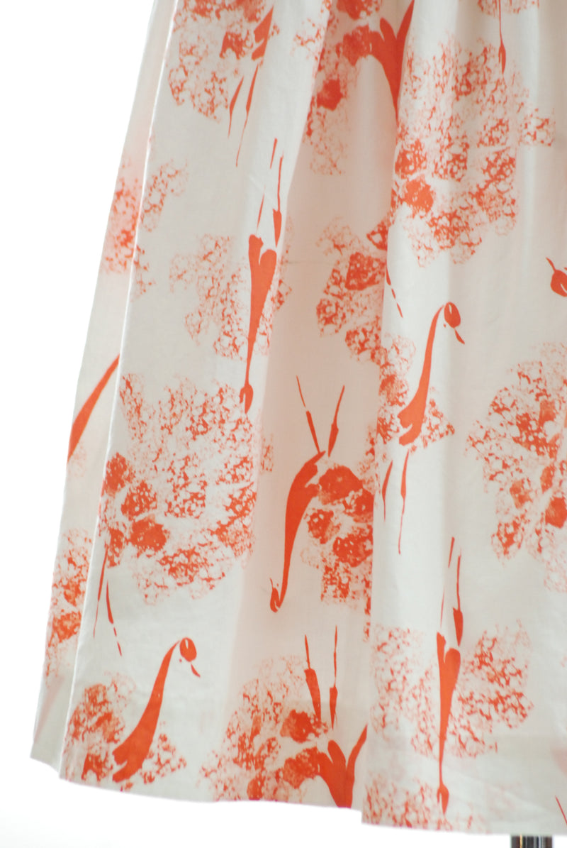 Unique 1950s Skirt by Lorch Hobbies with Orange Peacock Motif