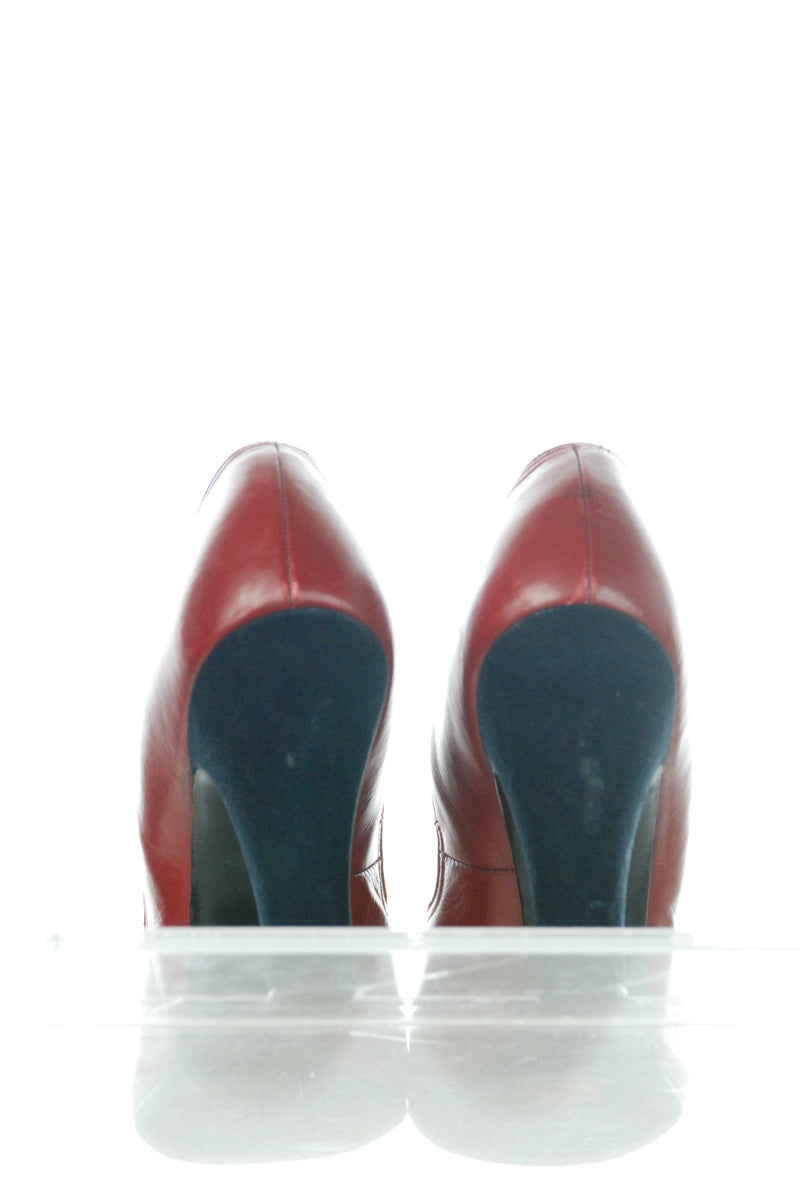 Killer 1940s Two Tone High Heel Baby Doll Shoes in Red and Navy Size 8