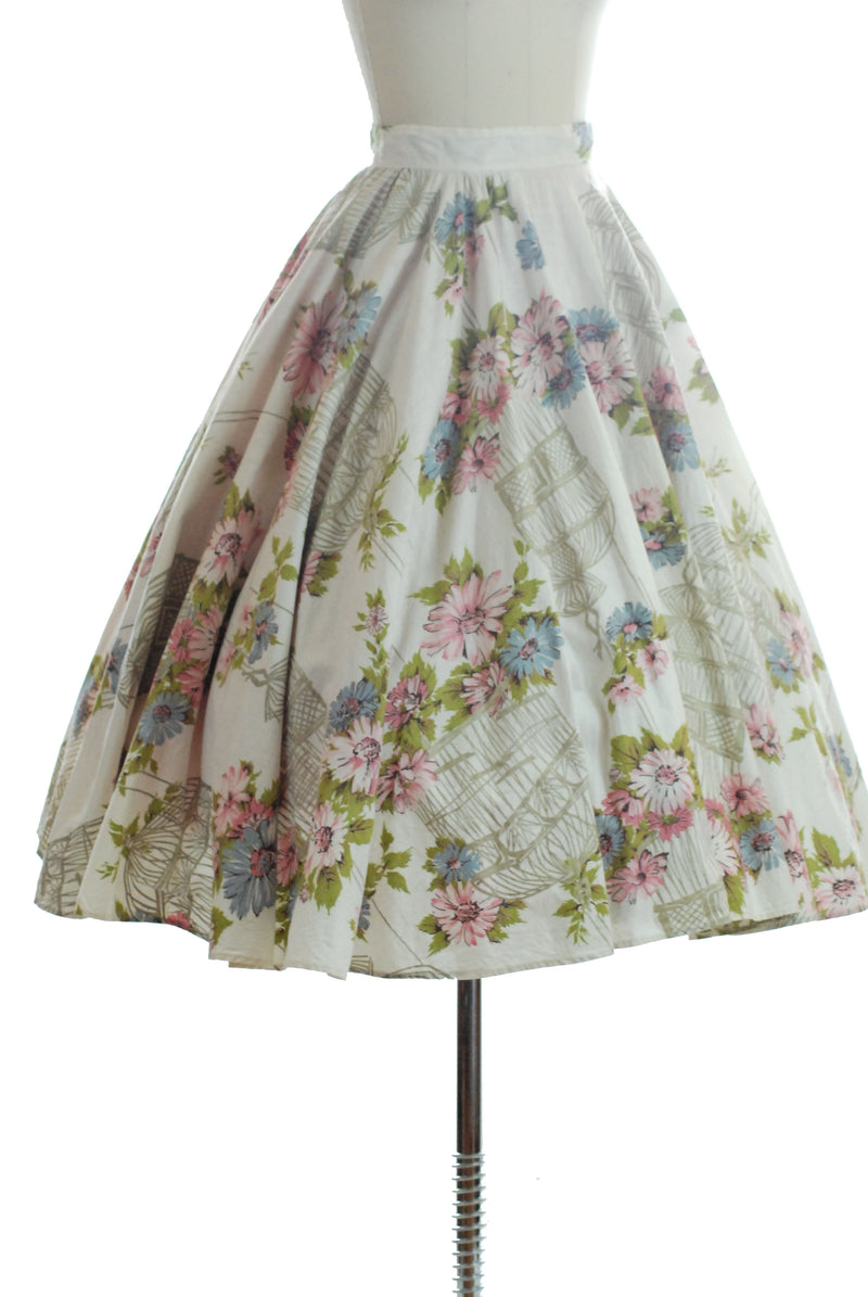 Gorgeous 1950s Novelty Print Cotton Circle Skirt with Birdcage Motif