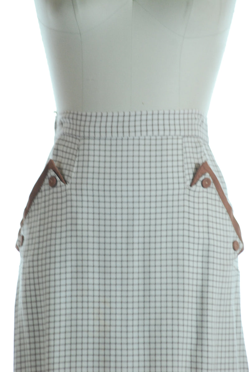 Smart Tailored Pencil Skirt in Brown and Ivory Windowpane with Hip Pockets
