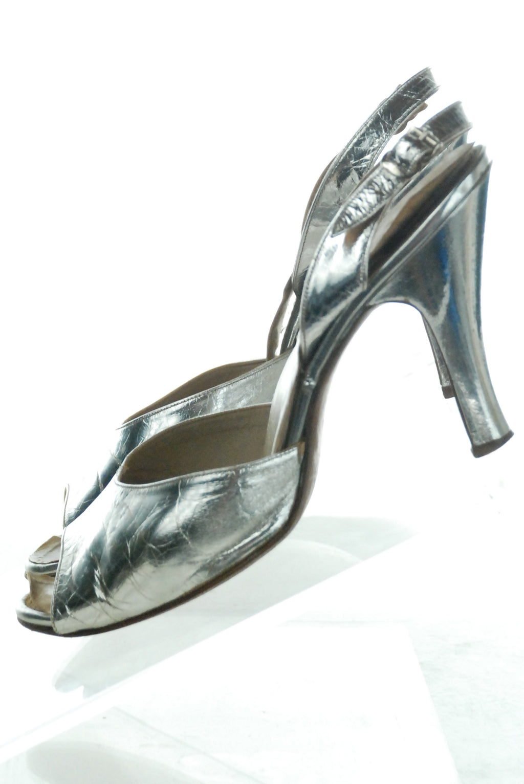 Bright Metallic Silver 1950s Slingback Shoes Perfect Evening Heels Size 7