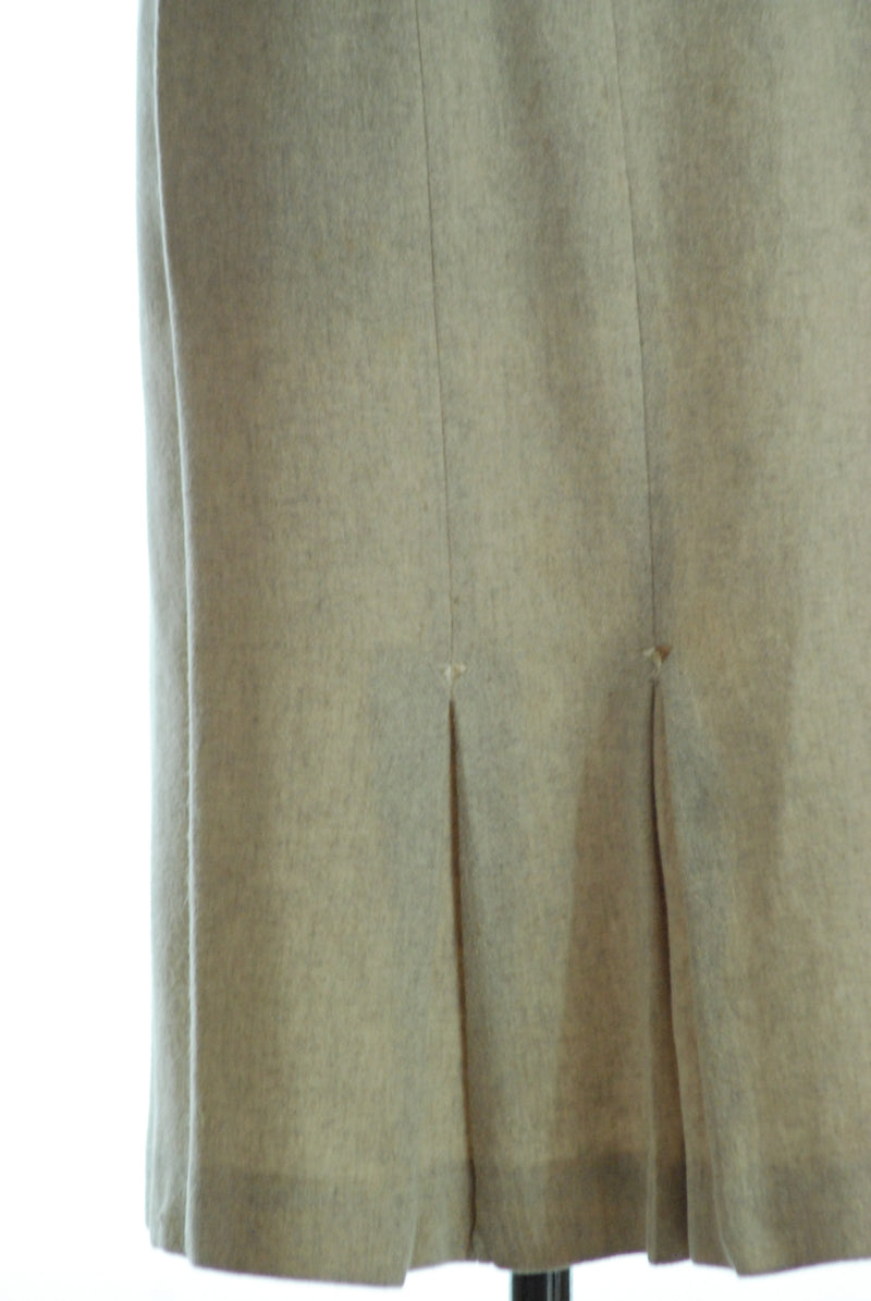 Tailored 1950s Wool Pencil Skirt in Heathered Oatmeal with Asymmetric Hip Accent