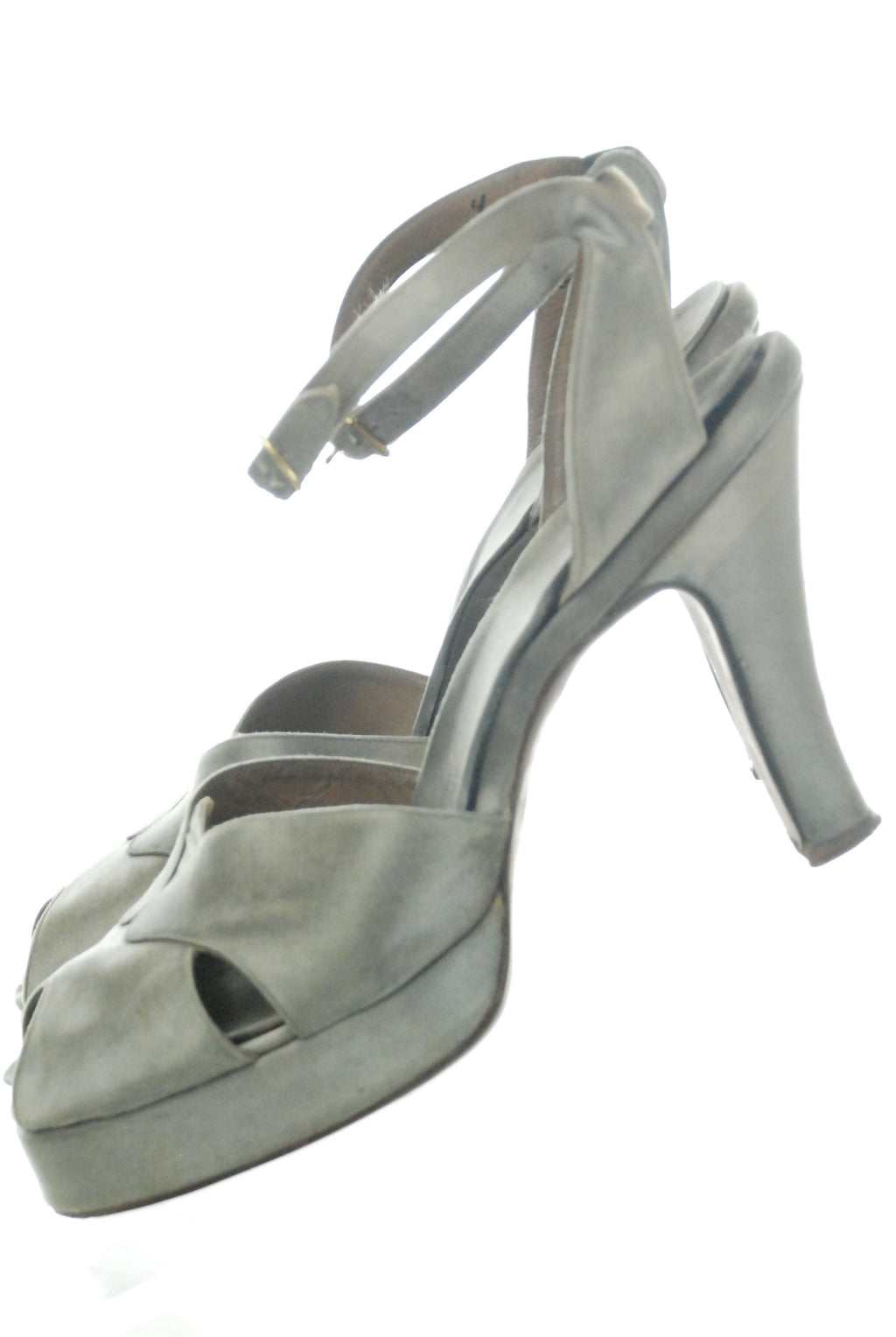 Fabulous Grey Satin Sandals 1940s Platform Heels with Peeptoe and Ankle Straps Size 7