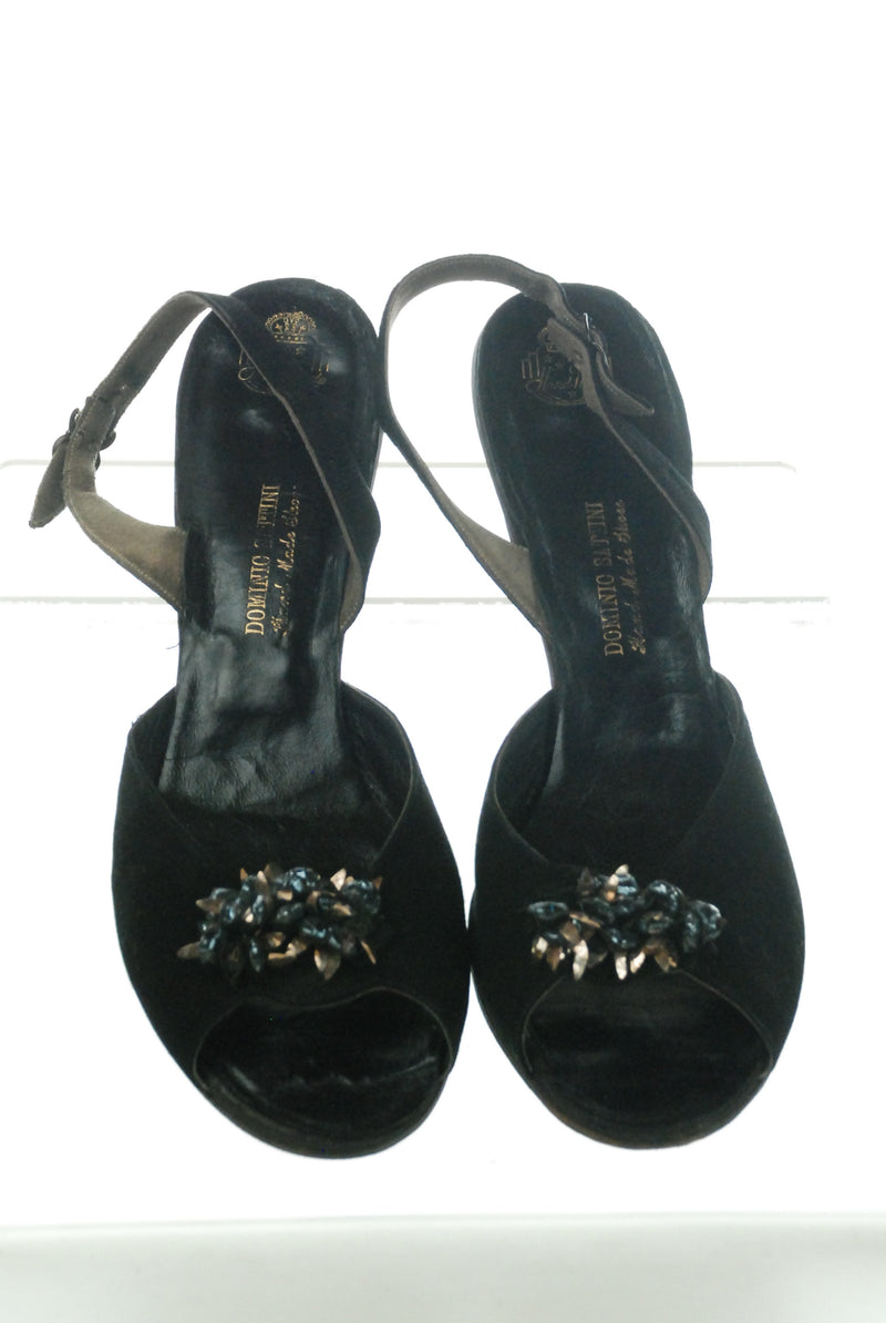 Gorgeous 1950s Black Suede Slingback Sandals Size 10 Shoes