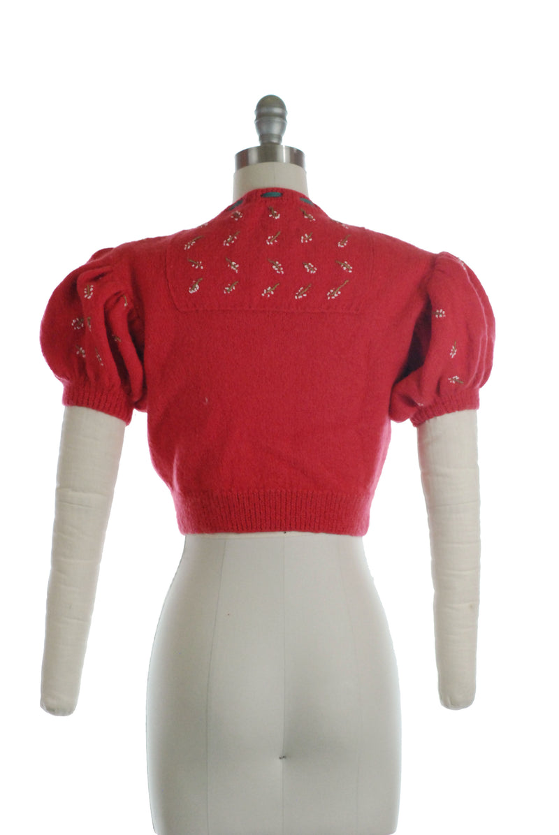 Adorable 1937 Style Reproduction Puff Sleeve Sweater with Posies
