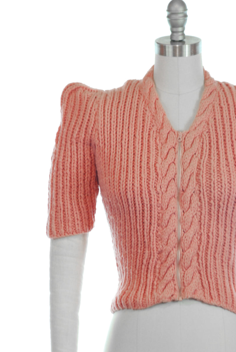 LAYAWAY DEPOSIT for  RARE Late 1930s Chunky Pink Sweater with Bell Zipper Front Closure and Peaked Sleeves