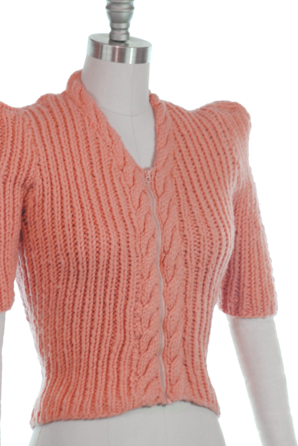 RARE Late 1930s Chunky Pink Sweater with Bell Zipper Front Closure and Peaked Sleeves