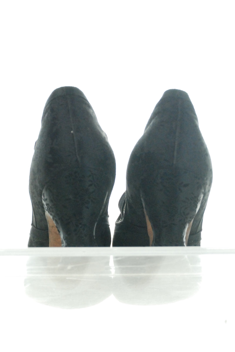 Stunning Edwardian High Heels in Black Silk Brocade Size 5 Evening Shoes