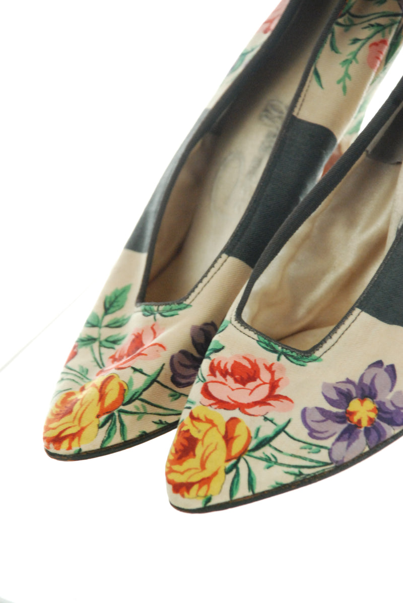 Stunning 1950s-does-Edwardian Printed Floral Shoes with Louis XV Heels Size 4 4.5