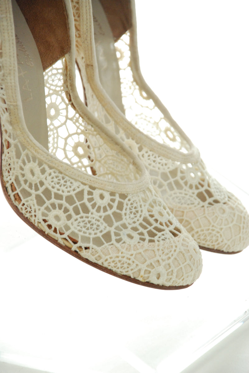 Killer Unworn 1950s Ivory Spiderweb High Heel Wedding Shoes Size 7.5 8