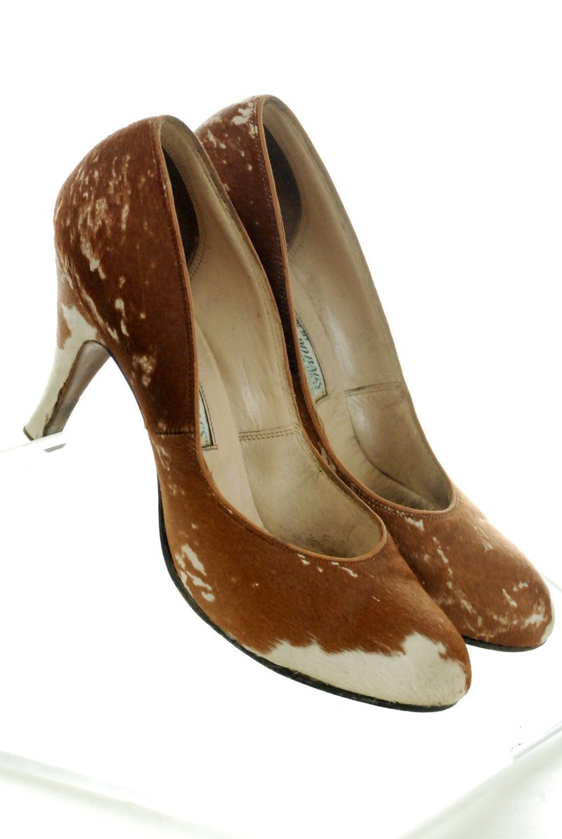 Rare 1950s High Heels of Pony Fur Leather Perfect Shoes for Western Wear