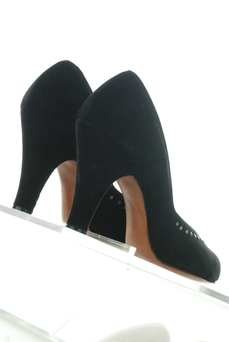 Deadstock Early 1950s Studded High Heel Shoes in Black Suede by Lewis in Box Size 6