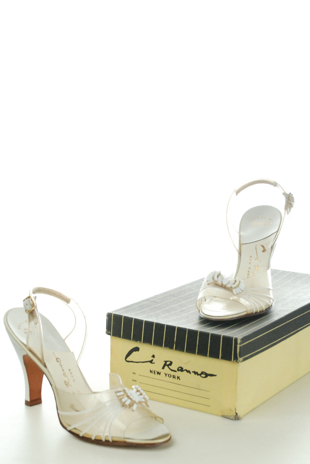 Deadstock 1950s Bombshell Ivory and Clear Plexi Heels Size 7 1/2 with Box