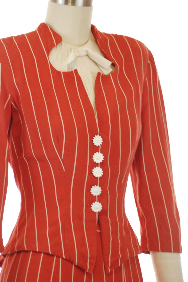 Fantastic 1930s Red Pinstripe Suit with Built in Dickie by Dorsa Originals