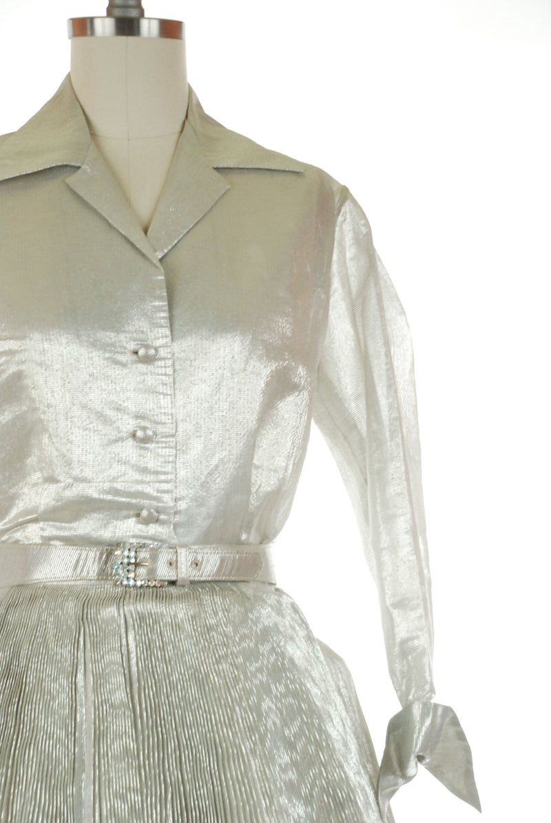 Gorgeous 1950s Crystal Pleated Silver Lamé Skirt Set with Blouse and Belt