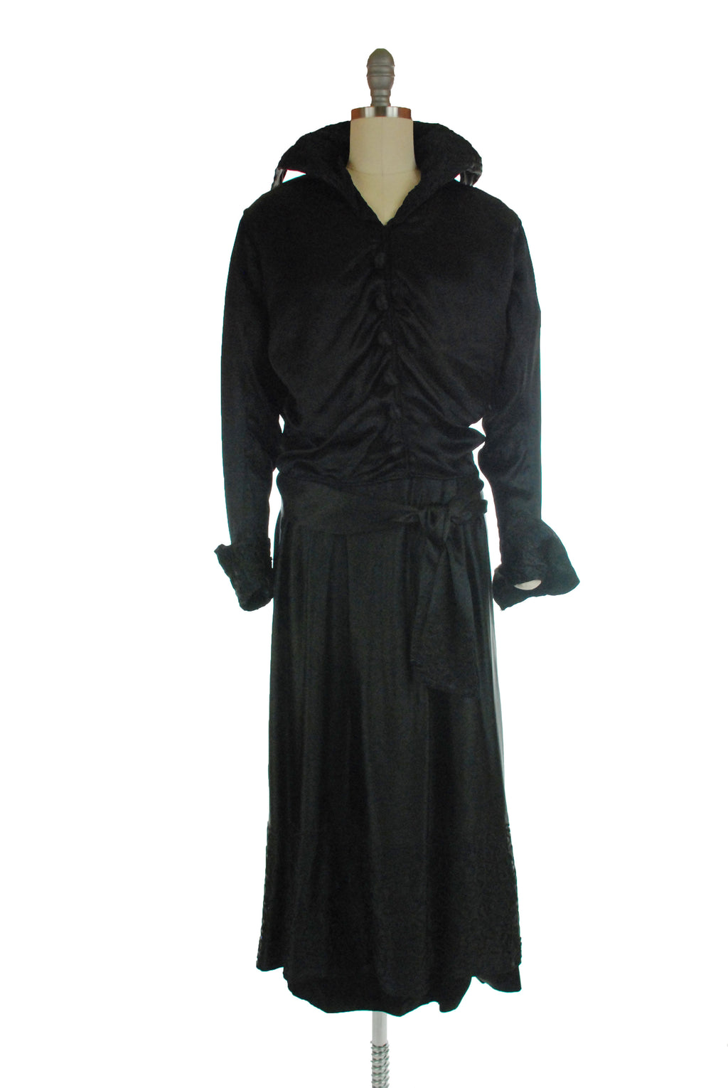 Gorgeous Late 1910s Silk Two Piece Dress Suit with Soutache Wired, Standing Collar