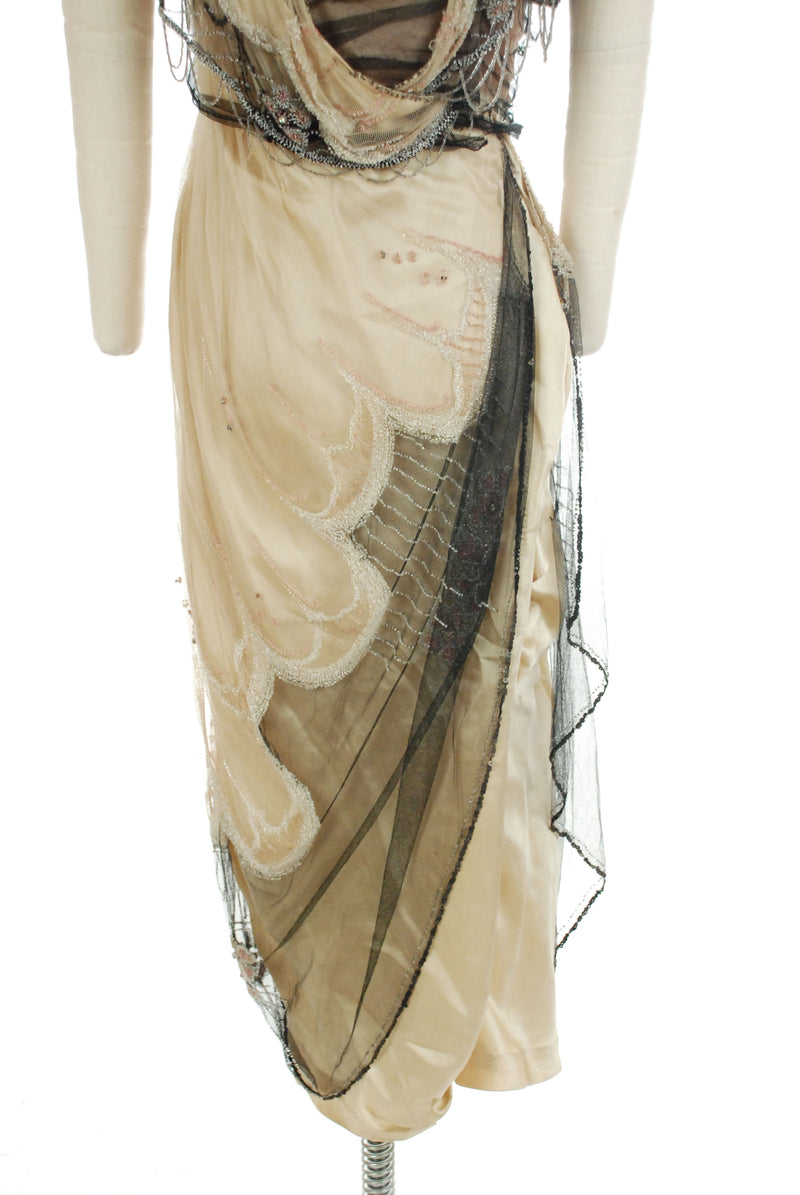 Rare c. 1912 Titanic Era 1910s Beading Evening Dress in Ivory Silk Satin and Net