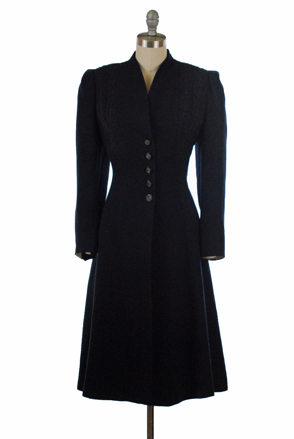 Gorgeous 1940s Navy Blue Spring Weight Princess Coat with Trapunto