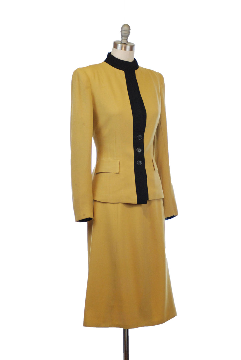 Killer Mustard and Black Colorblock 1940s Suit in Three Pieces - Jacket, Coat and Skirt