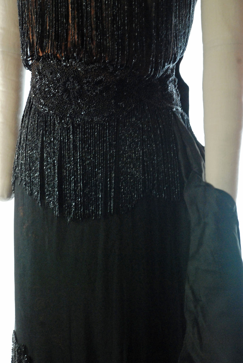 RESERVED on LAYAWAY Incredible c. 1917 Beaded Evening Dress of Draped Silk with Jet Beadwork