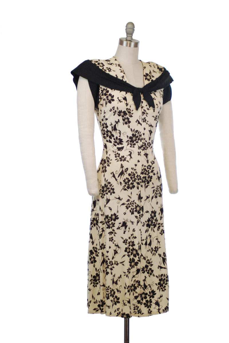 RESERVED on LAYAWAY Fantastic 1940s Novelty Print Rayon Jersey in Ivory and Black with Print of Ladies Walking Dogs