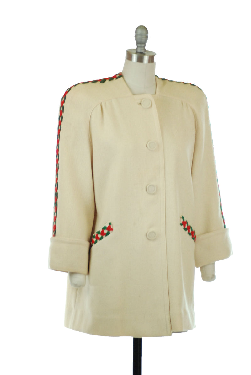 Smart Post War 1940s Cream Colored Jacket with Red, Cream and Forest Green Braided Trim