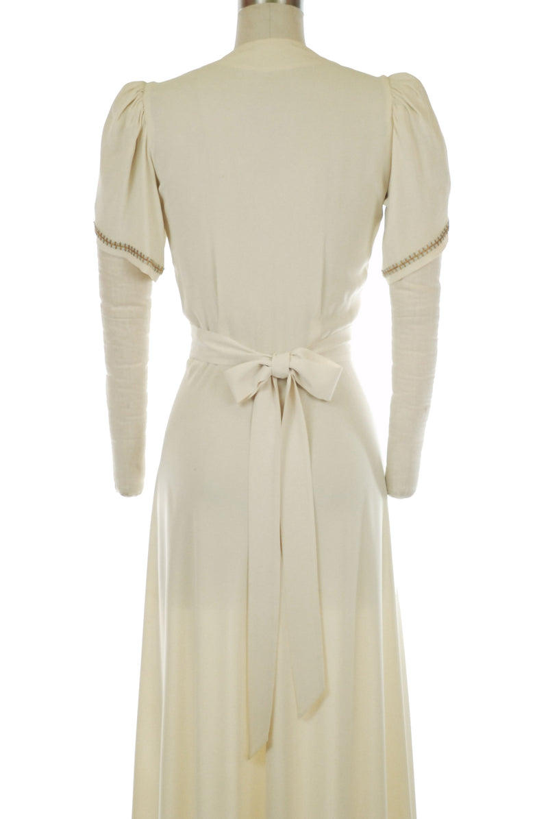 High Drama c. 1940 Dressing Gown with Brass and Enameled Studded, Perfect Wedding or Evening Gown