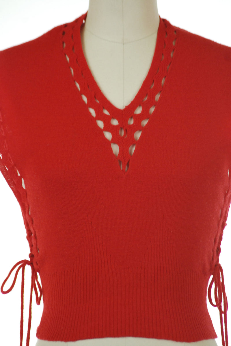 Fantastic 1940s Sweater Vest in Cherry Red with Lace-up Sides