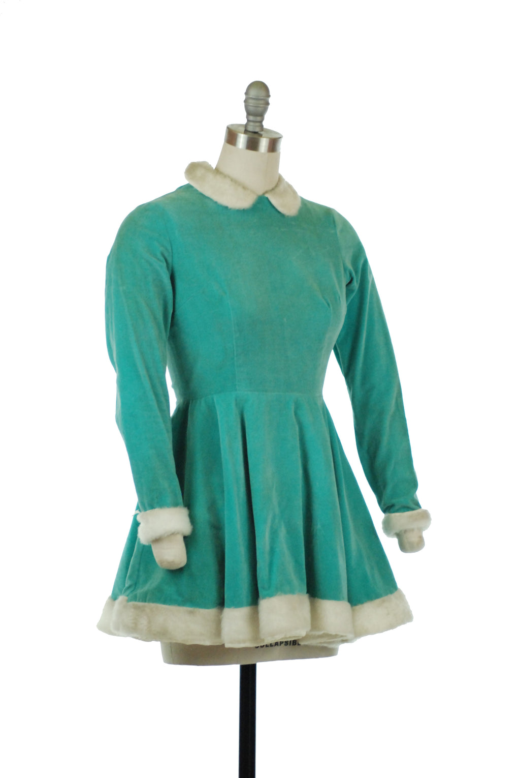 Vintage 1960s Mint Green Velveteen Skating Dress with Fuzzy White Trim