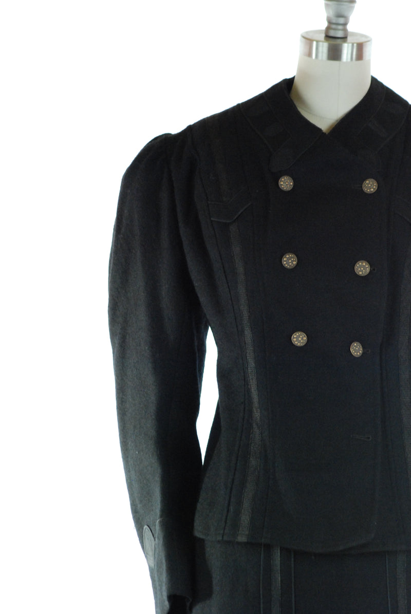 Gorgeous 1900s Edwardian Wool Winter Suit c. 1905-1907 with Large Sleeves and S-Curve Shape