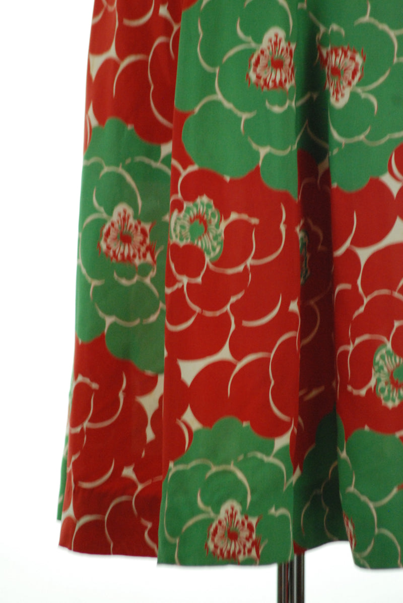 Slippery Cold Rayon 1940s Green and Red Tropical Holiday Skirt